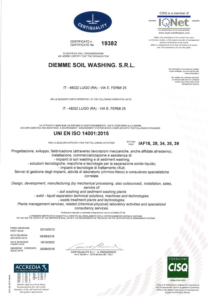 Diemme Soil Washing Certificato ISO 14001