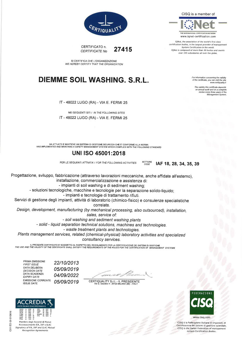 Diemme Soil Washing Certificato ISO 45001