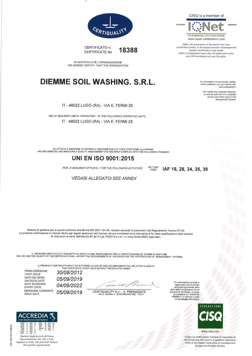 Diemme Soil Washing Certificato ISO 9001